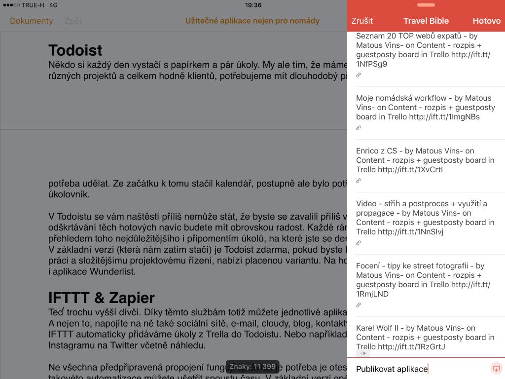 Todoist na iPadu v iOS 9.1, úkoly do tohoto projektu se automaticky importují z Trella