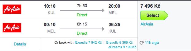 Zpáteční let Kuala Lumpur –Melbourne