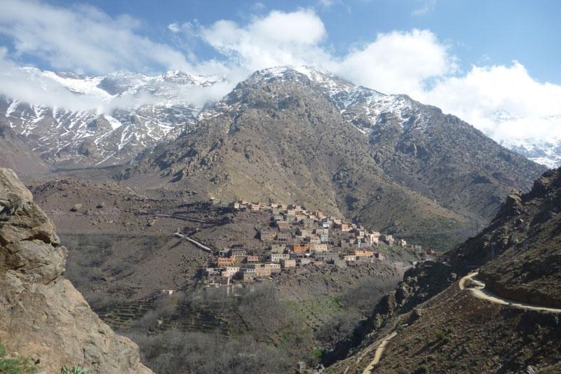 Vesnice Imlil, výchozí bod na Toubkal