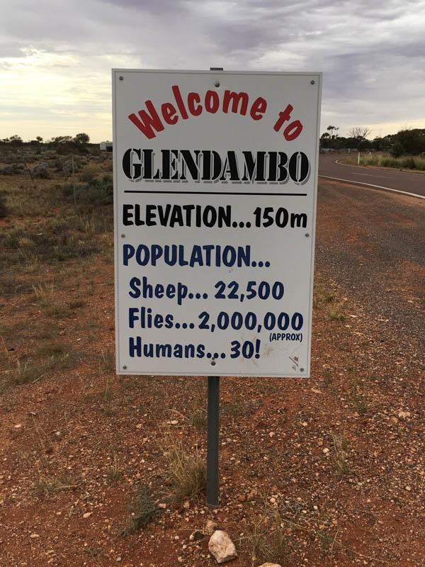 Uvítací cedule Glendambo