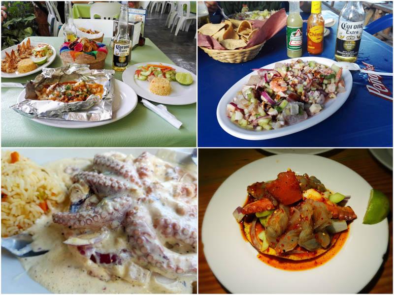 Krevety, ceviche, pulpo a tostada