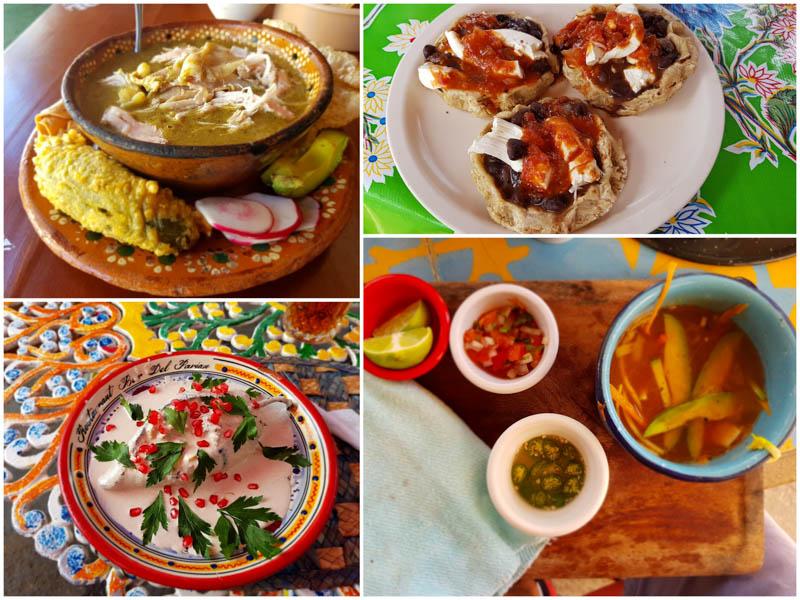 Pozole verde, pellizcada, chiles en nogada, polévka